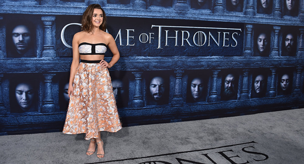 Maisie Williams attends the season six premier of Game Of Thrones at TCL Chinese Theatre on Sunday, April 10, 2016, in Los Angeles.