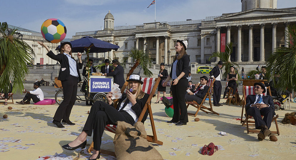 London's Trafalgar Square transformed into an interactive, tropical tax haven by Oxfam, Action Aid and Christian Aid. /