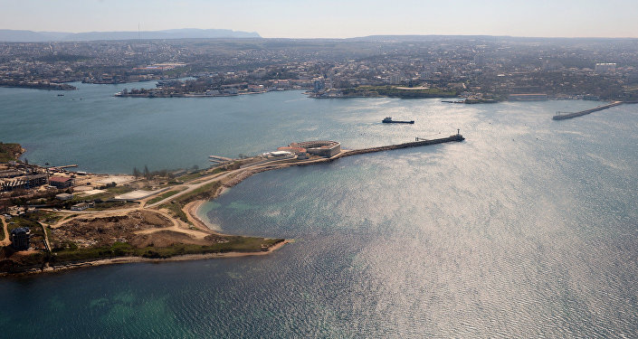 A view of Konstantinovsky Fort and the Sevastopol Bay from a helicopter.