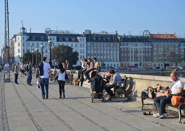 Taking in the scene and sun from the bridge to Norrebro, Copenhagen