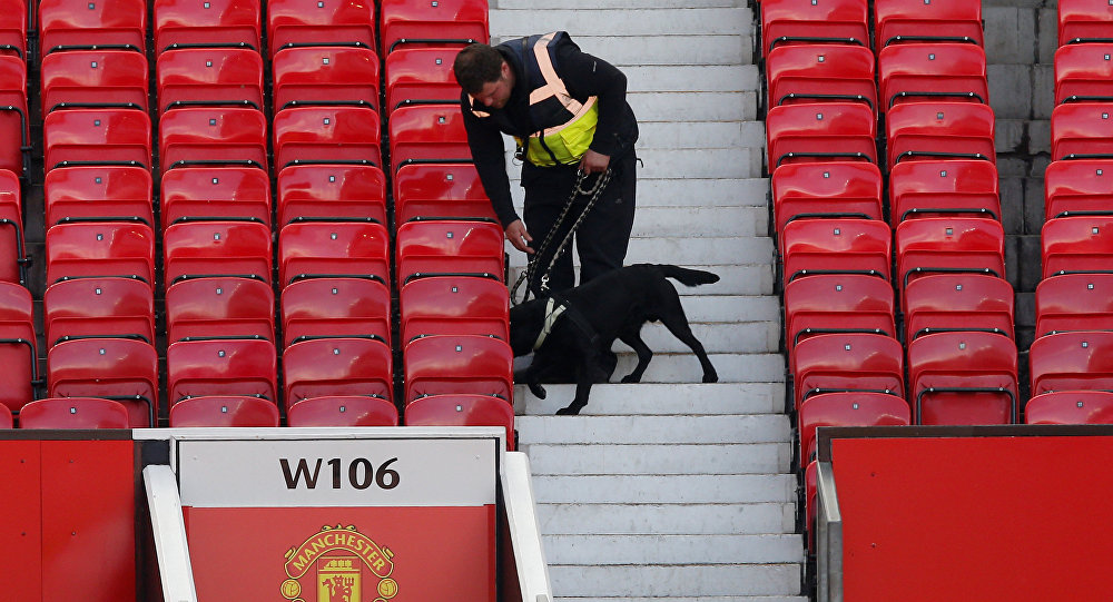 Britain Soccer Football - Manchester United v AFC Bournemouth - Barclays Premier League - Old Trafford - 15/5/16A police dog after the match was abandoned.