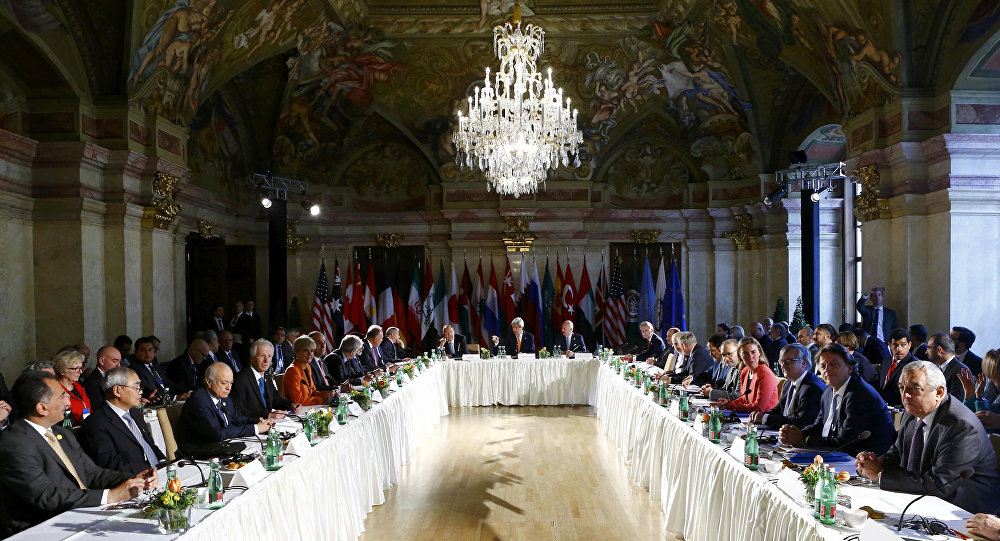 Russian Foreign Minister Sergei Lavrov, center left, U.S. Secretary of State John Kerry, center and United Nations special envoy for Syria Staffan de Mistura, center right, attend the ministerial meeting on Syria in Vienna, Austria, Tuesday, May 17, 2016