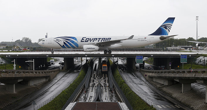 This picture taken on May 19, 2016, shows an Egyptair Airbus A330 from Cairo taxiing at the Roissy-Charles De Gaulle airport near Paris after its landing a few hours after the MS804 Egyptair flight crashed into the Mediterranean