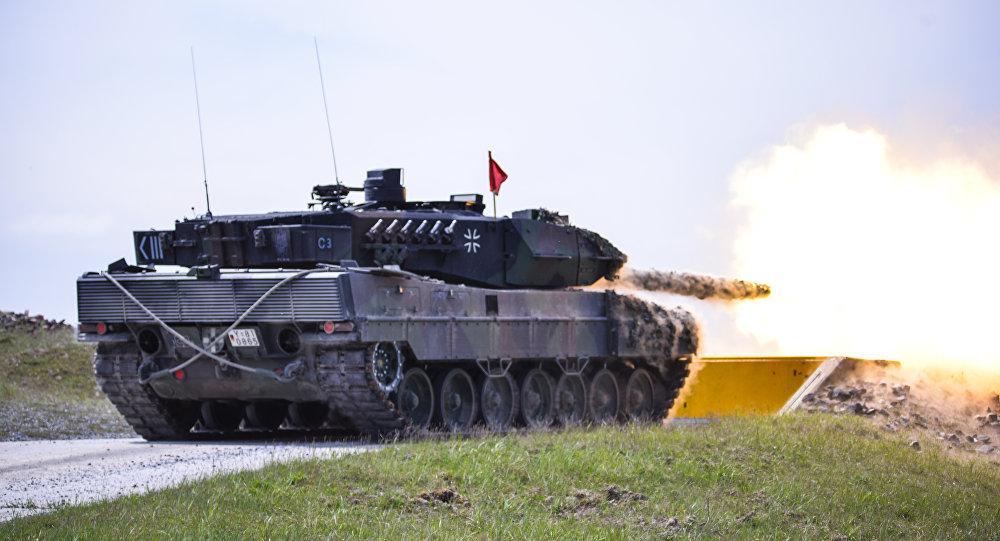German Bundeswehr Soldiers, fire at their target.