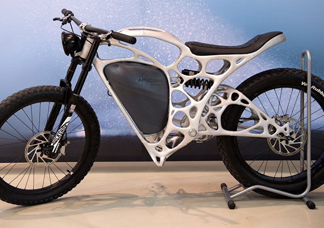 A Light Rider motorcycle printed in 3D technique by APWorks, a subsidiary of the Airbus Group, is presented on May 20, 2016 in Ottobrunn near Munich, southern Germany