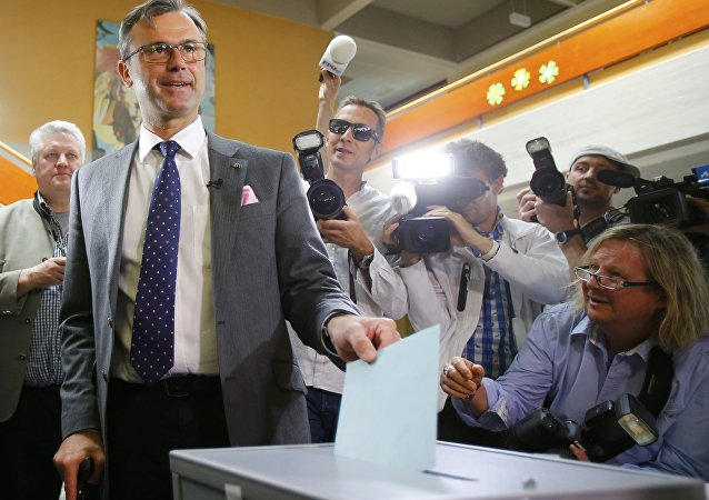 Presidential candidate Norbert Hofer of the Austrian Freedom Party (FPOe) poses as he casts his ballot at the polling station in his hometown Pinkafeld, Austria, May 22, 2016.