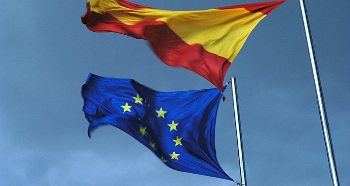 Spanish and EU flags