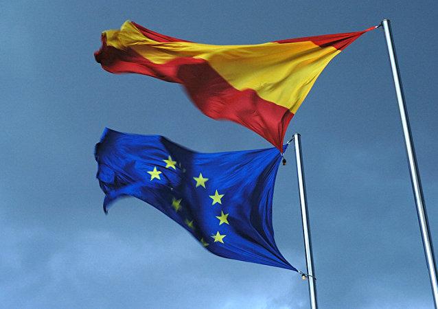 Spanish and EU flags