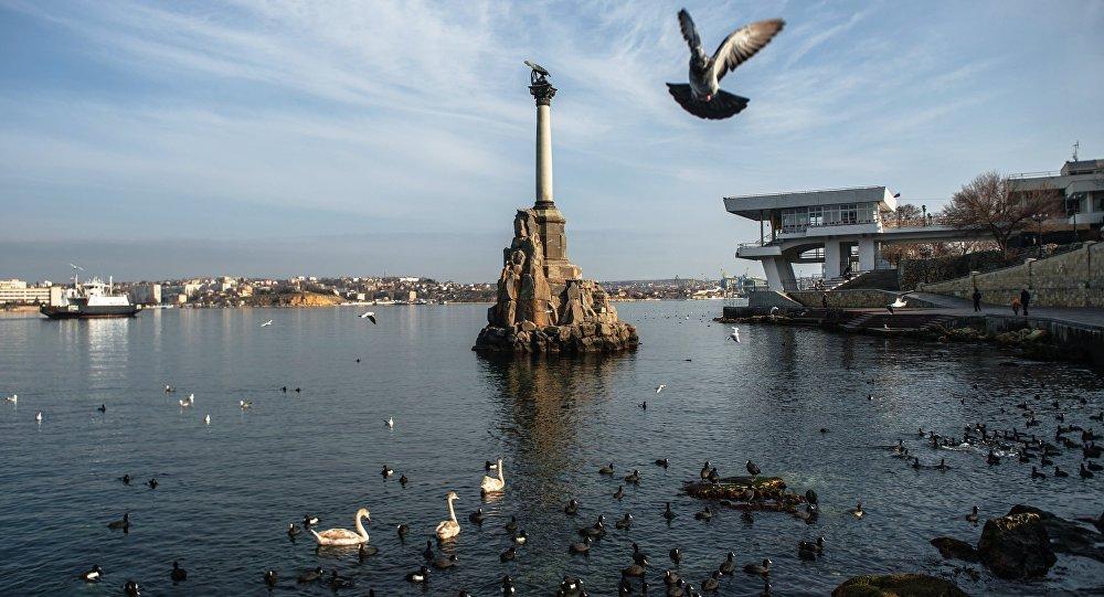 View of the Monument to Sunken Ships in Sevastopol.