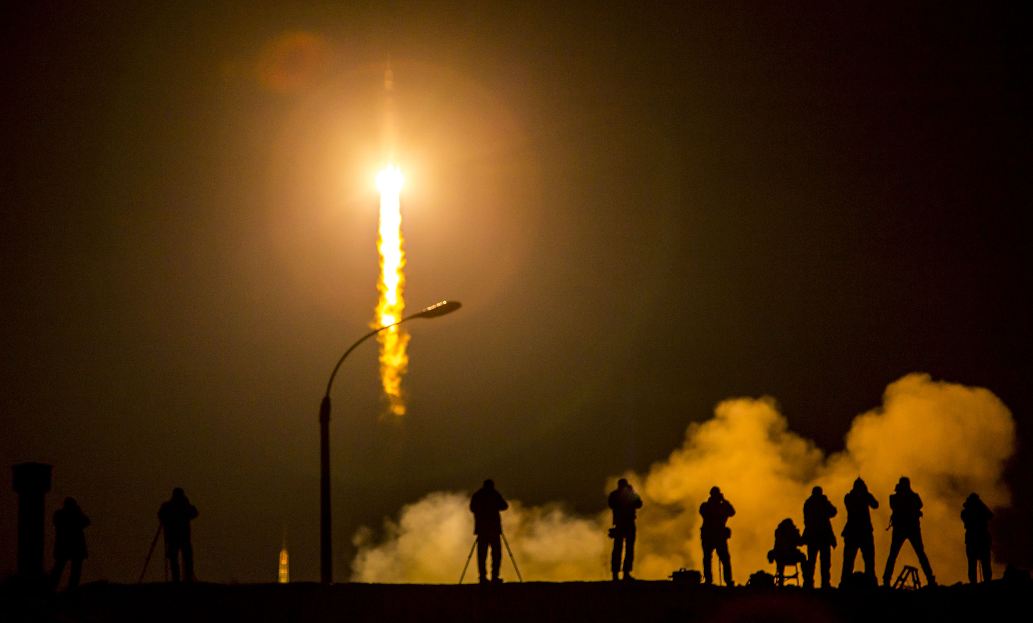 The Soyuz TMA-16M spacecraft launching to the International Space Station with NASA Astronaut Scott Kelly and Russian Cosmonauts Mikhail Kornienko and Gennady Padalka onboard, Saturday, March 28, 2015.