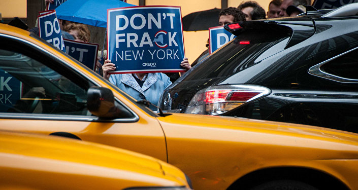 Activists protest fracking. New York