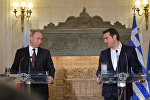 May 27, 2016. Russian President Vladimir Putin, left, and Greek Prime Minister Alexis Tsipras during a joint news conference following Russian-Greek talks in Athens.