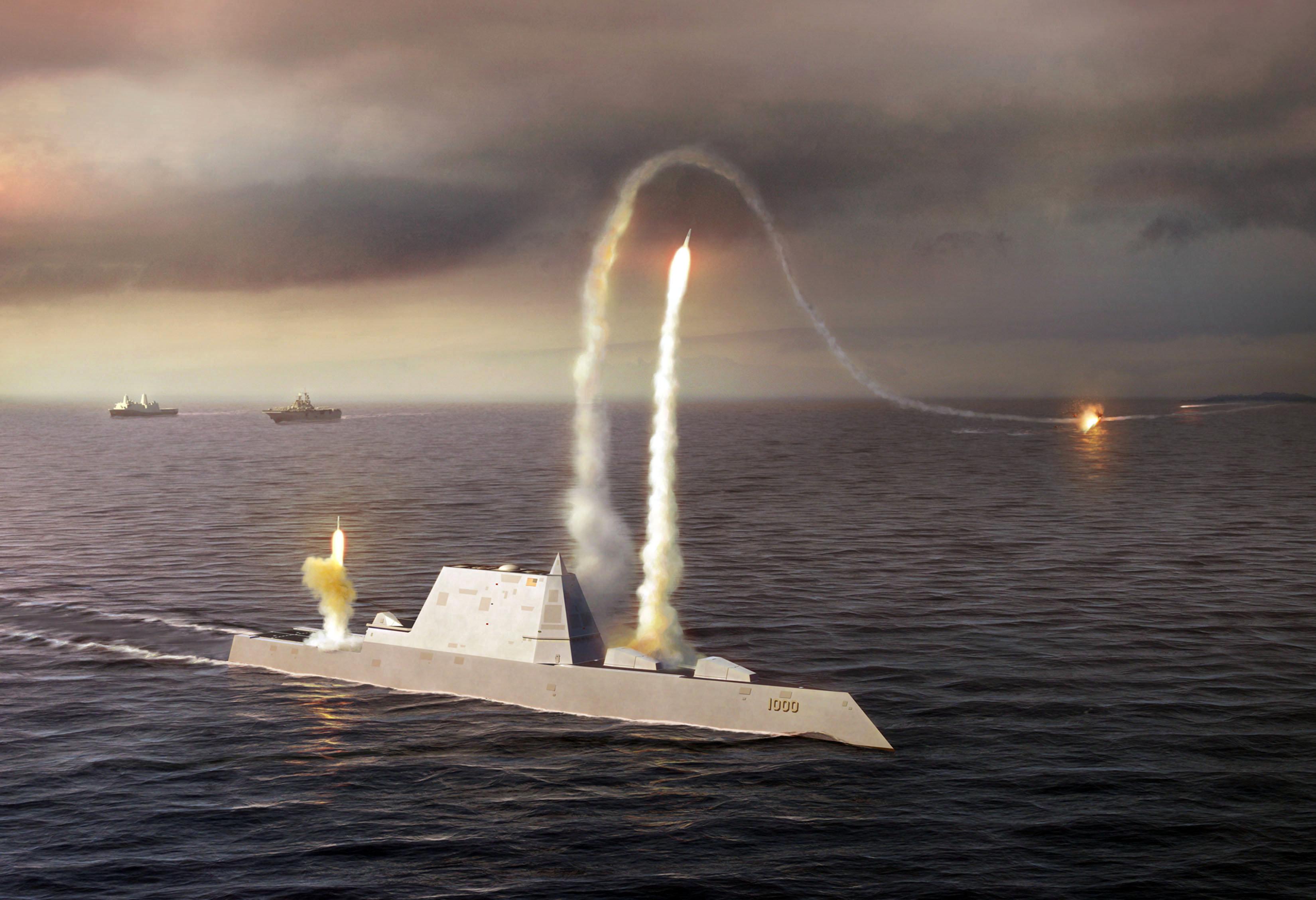 Artistic Rendering of the USS Zumwalt class destroyer DDG 1000