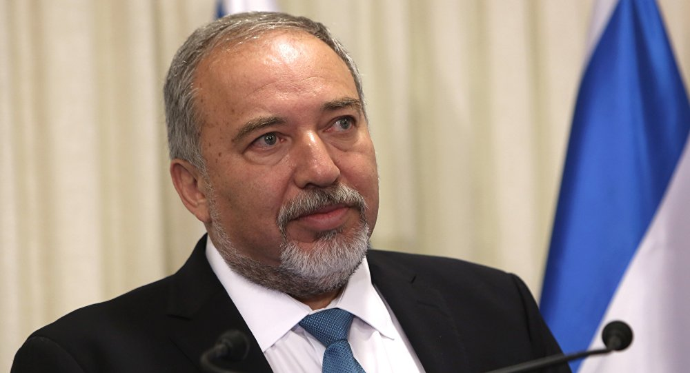 Avigdor Lieberman, the head of hardline nationalist party Yisrael Beitenu, is seen during a ceremony in which he signed a coalition agreement with the Israeli prime minister at the Knesset, the Israeli parliament in Jerusalem