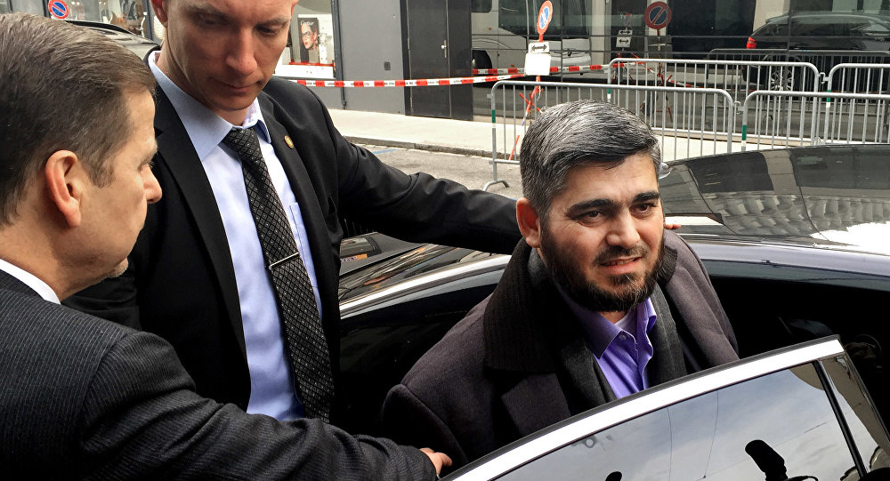 Army of Islam official Mohammed Alloush, gets in to a car heading to a meeting with the opposition's High Negotiations Committee, in Geneva, Switzerland. (File)