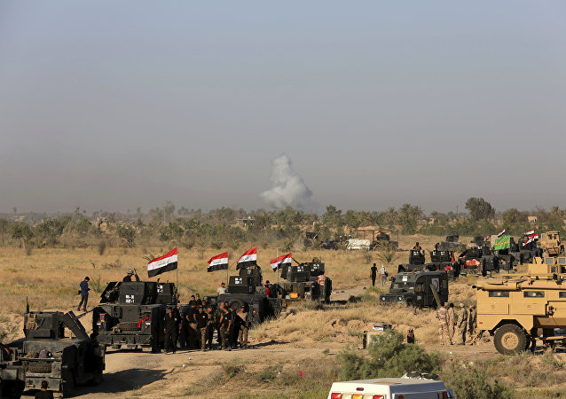 Smoke rises as Iraqi military forces prepare for an offensive into Fallujah to retake the city from Daesh in Iraq, Monday, May 30, 2016