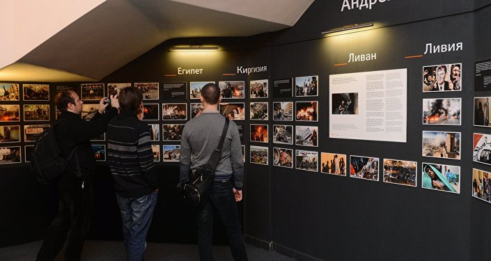 Photographic exhibition of MIA Rossiya Segodnya news agency photo correspondent Andrei Stenin killed in Ukraine on professional duty.