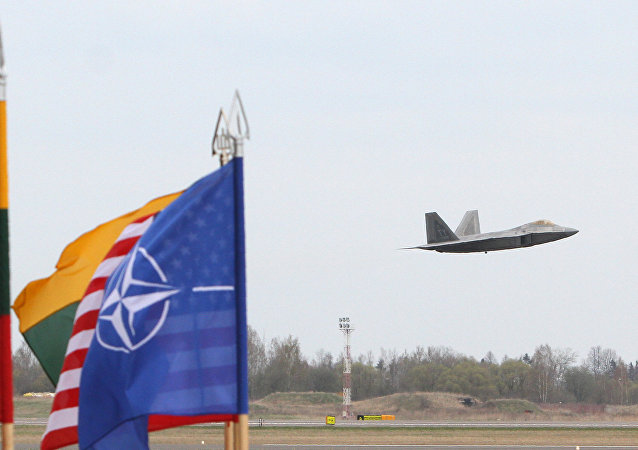 A US Air Force F-22 Raptor fighter aircraft flies at the Air Base of the Lithuanian Armed Forces in Šiauliai, Lithuania, on April 27, 2016 behind flags of US, Lithiania and the NATO