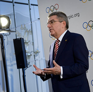 International Olympic Committee president Thomas Bach gestures during a press conference following an IOC executive meeting. File photo