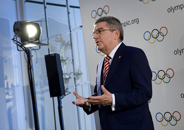 International Olympic Committee president Thomas Bach gestures during a press conference following an IOC executive meeting in Lausanne on June 3, 2016