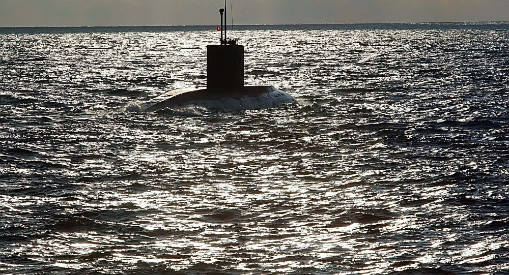The submarine Varshavyanka during a naval exercise. The search and rescue forces of the Russian Baltic Fleet conducting a submarine rescue exercise in the Baltic Sea.