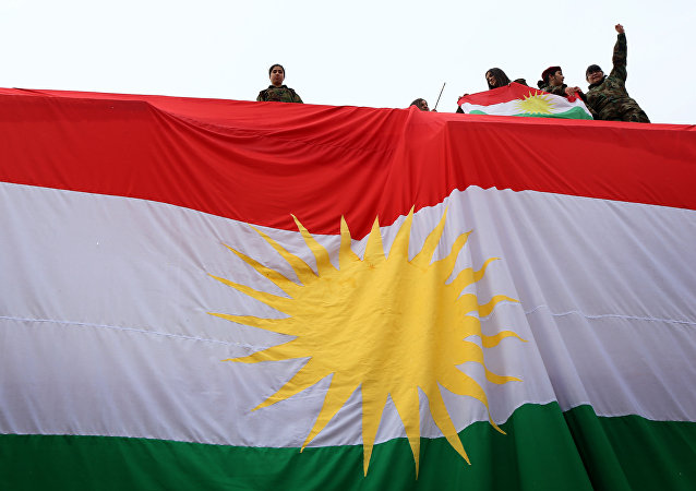 Iraqi Kurdish youths wave a national flag