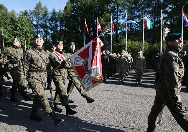 The Honorary Company of the Polish army walks in front of troops that will take part in major international Anakonda-14 defense exercise during the opening ceremony at the National Defense Academy in Warsaw-Rembertow district, Wednesday, Sept. 24, 2014