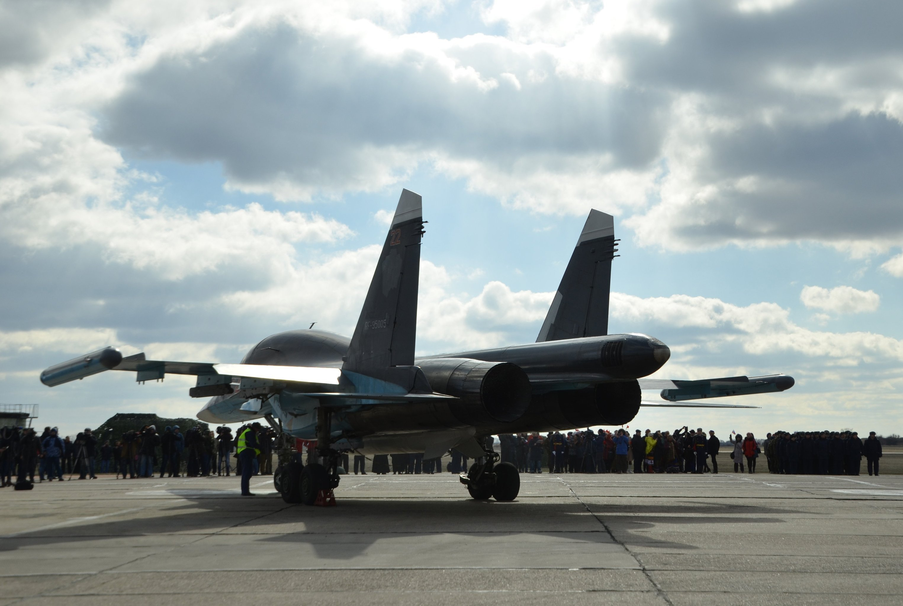 Pilots of Russian Su-34 bomber jets from Syria welcomed at an airbase in Russia's Voronezh region.