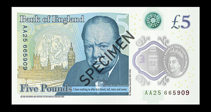 £5 polymer banknote featuring Sir Winston Churchill