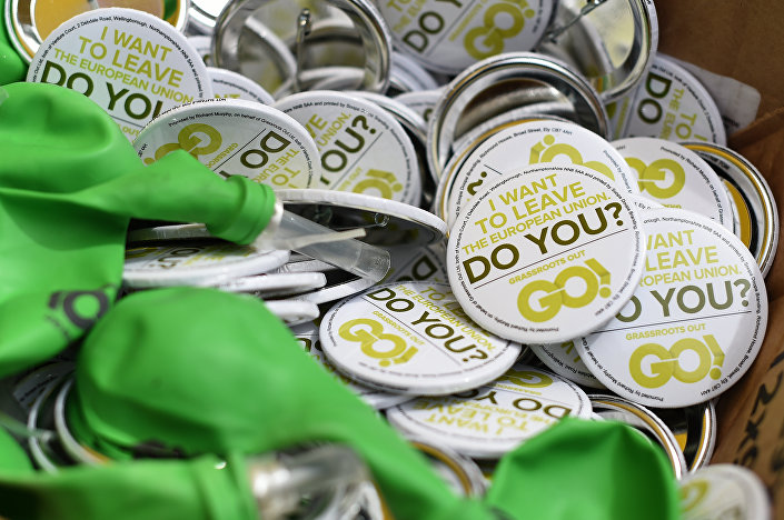 Anti-EU (European Union) badges are pictured during a United Kingdom Independence Party (UKIP) pro-Brexit campaign event, ahead of the forthcoming referendum, in Birmingham, central England, on May 31, 2016.