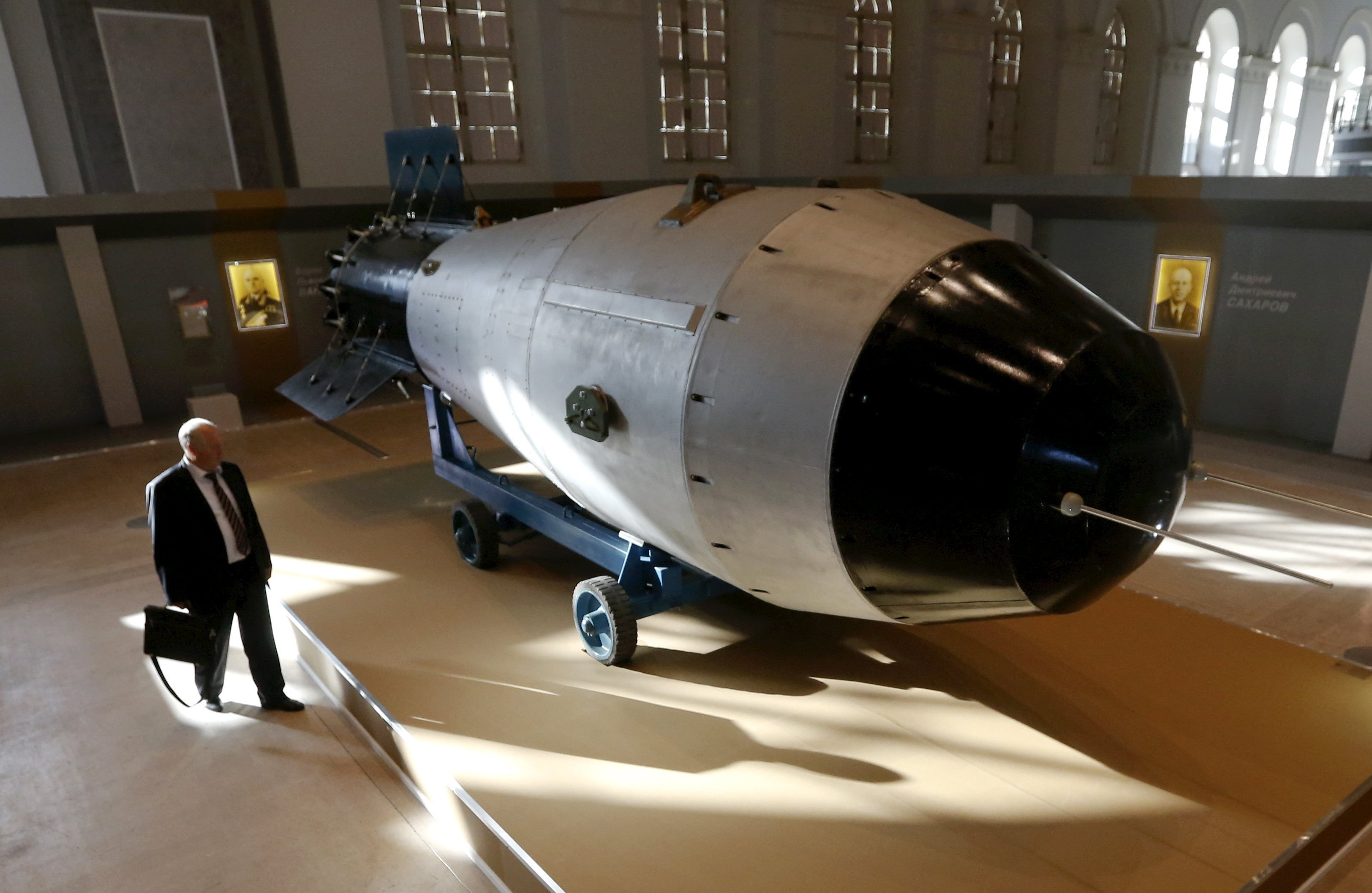 Shell, which is the replica of the biggest detonated Soviet nuclear bomb AN-602 (Tsar-Bomb), is on display in Moscow, Russia, August 31, 2015