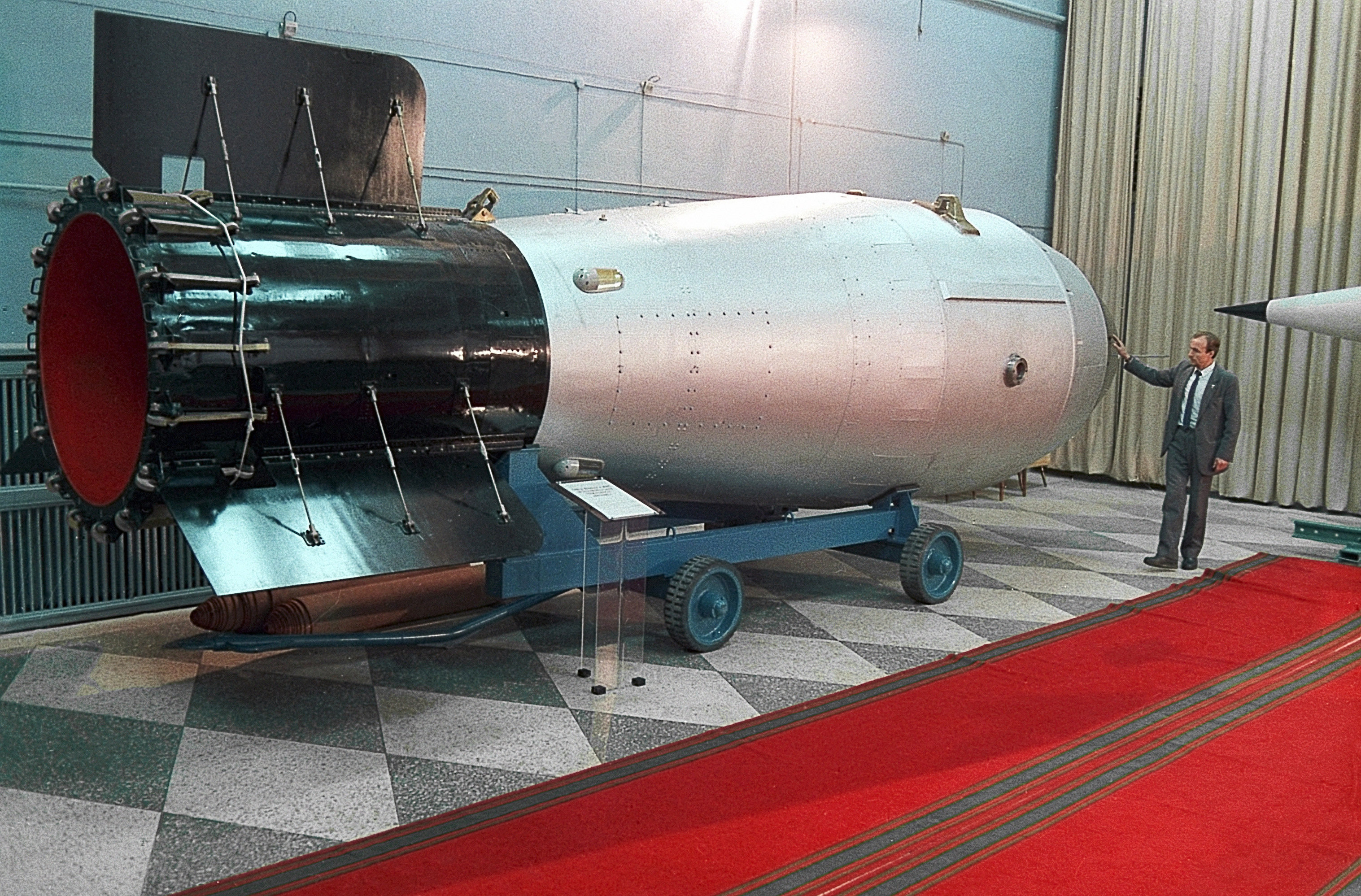 A thermonuclear bomb is displayed in the museum of nuclear weapons in the Russian Federal Nuclear Center in the Nizhny Novgorod Region