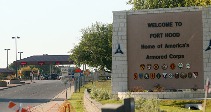 An entrance to Fort Hood Army Base in Fort Hood, Texas, near Killeen remains in lock-down following a mass shooting on Thursday, Nov. 5, 2009