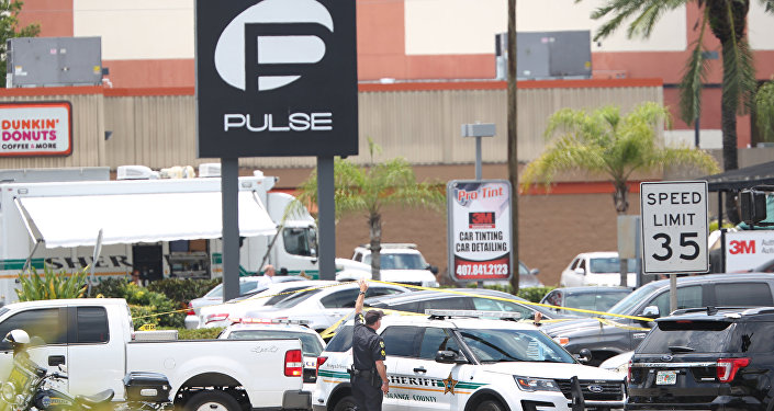 A police vehicle outside the Pulse nightclub, the scene of a mass shooting in Orlando, Florida, on June 12, 2016