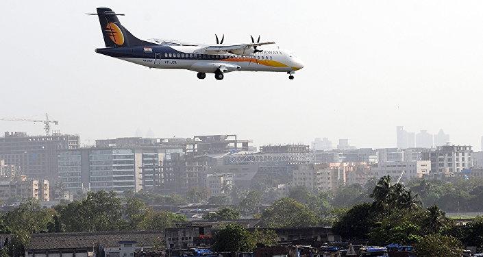 A Jet Airways ATR aircraft prepares to land