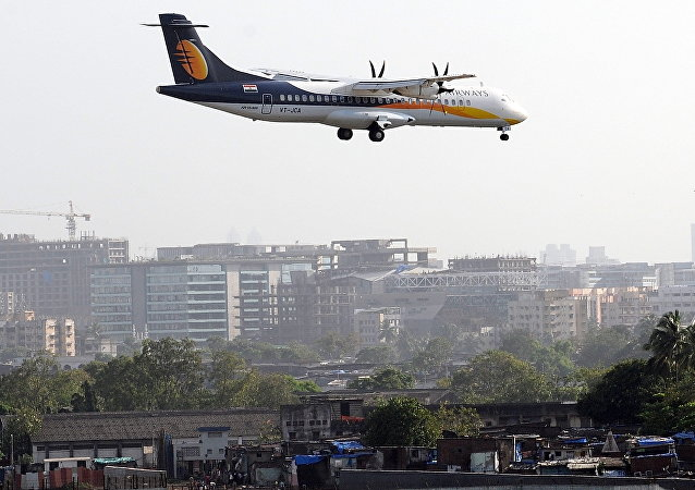 A Jet Airways ATR aircraft prepares to land
