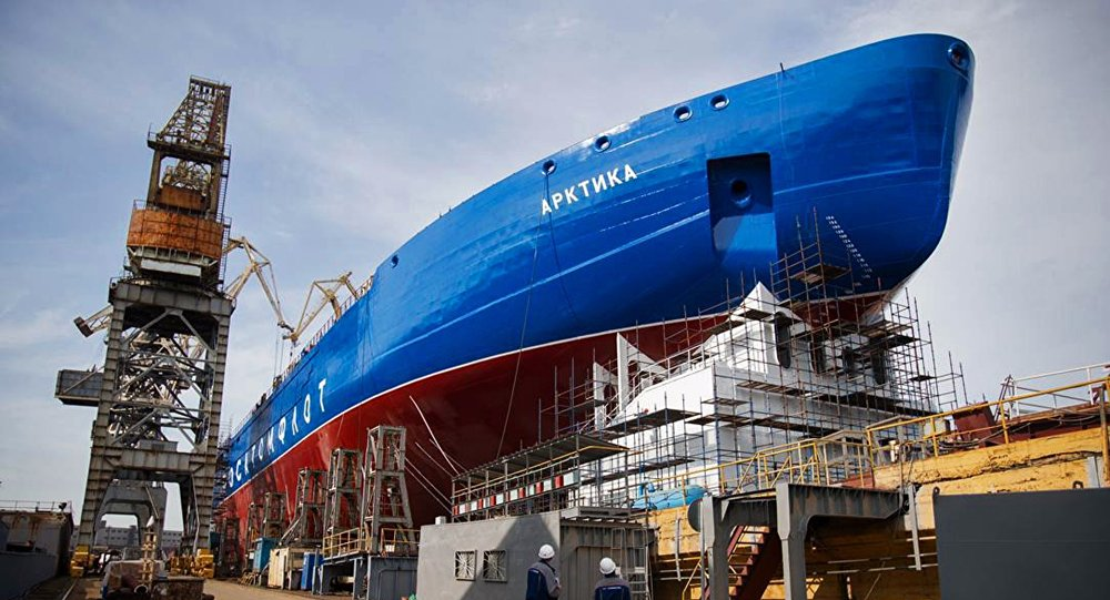 The Arktika, the first vessel in the series of three Project 22220 LK-60 Nuclear Icebreakers being built by Baltic Shipyard Shipbuilding.