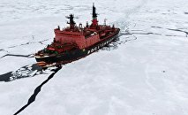 The atomic icebreaker Yamal during researches carried out in the Kara Sea as part of the world's largest Arctic expedition in the recent 20 years, Kara-Winter 2015
