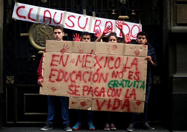 Activists hold signs during a demonstration at the door of the Secretary of Education building, following clashes in southern Mexico over the weekend between police and members of the National Coordination of Education Workers (CNTE) in Mexico City, Mexico, June 21, 2016