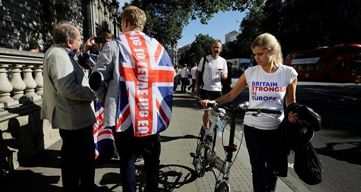 A vote remain supporter walks past a vote leave supporter outside Downing Street in London, Britain June 24, 2016 after Britain voted to leave the European Union.