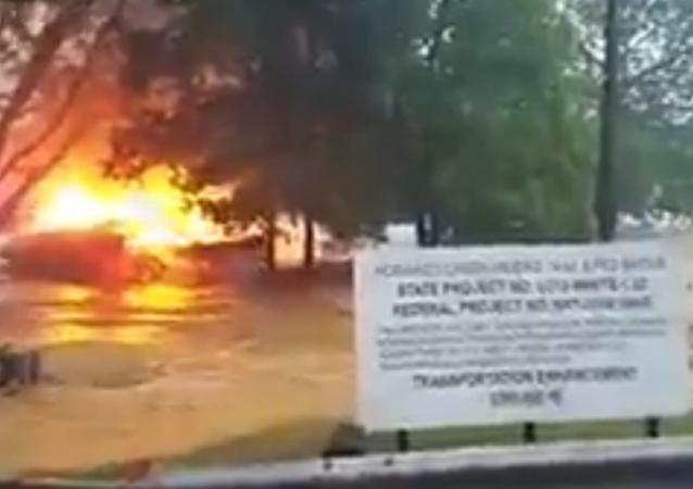 West Virginia House on Fire Floats Away