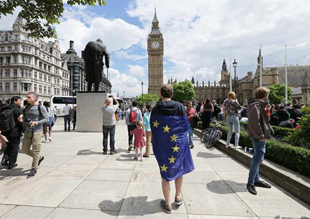 A demonstrator wrapped in the EU flag takes part in a protest opposing Britain's exit from the European Union in Parliament Square following yesterday's EU referendum result, London, Saturday, June 25, 2016