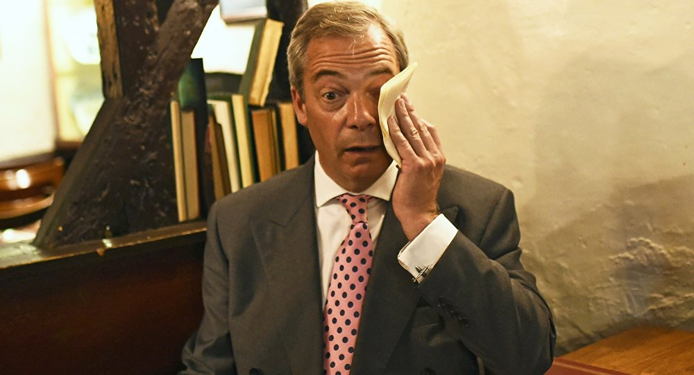 Nigel Farage, the leader of the United Kingdom Independence Party (UKIP), has a coffee in The Old Jail pub, after voting in the EU referendum, at a polling station in Biggin Hill, Britain June 23, 2016.