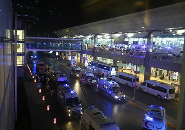 Ambulance cars arrive at Turkey's largest airport, Istanbul Ataturk, Turkey, following a blast June 28, 2016.