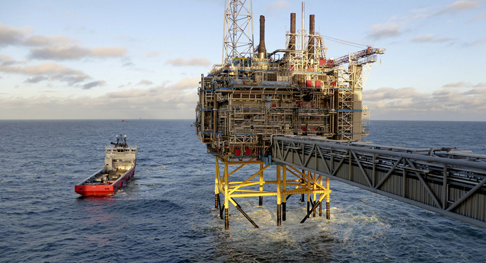 Oil and gas company Statoil gas processing and CO2 removal platform Sleipner T is pictured in the offshore near the Stavanger, Norway.