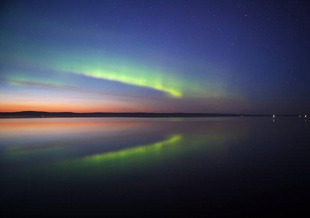 Aurora borealis in Petrozavodsk