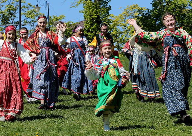 Ladushki dance company perform during a festival marking the 700th birthday of St. Sergiy of Radonezh