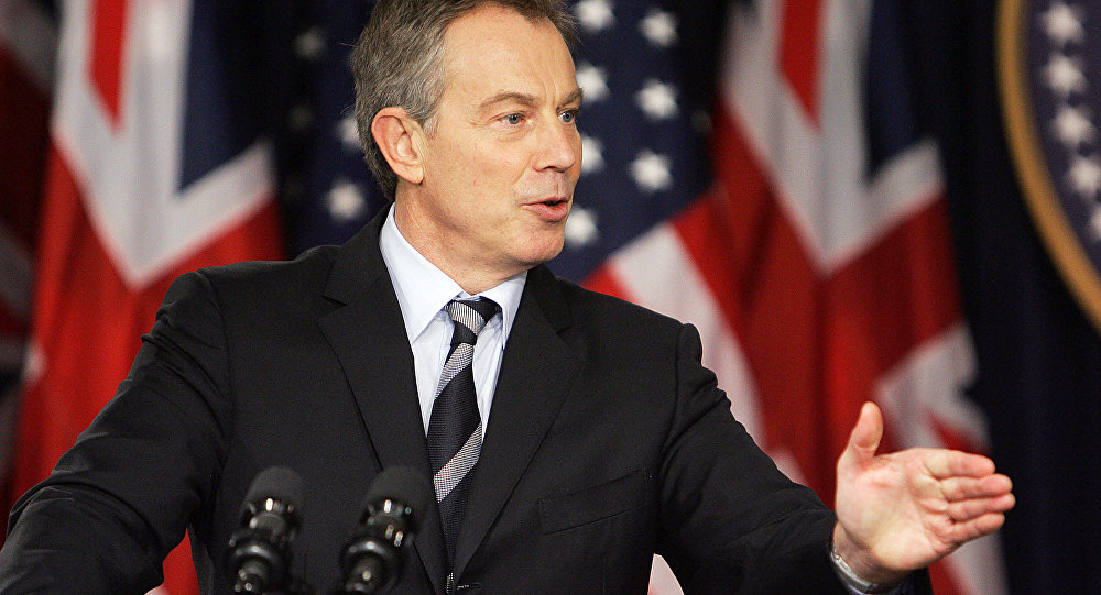 Former British Prime Minister Tony Blair speaks during a joint press conference with US President George W. Bush, 07 December 2006, in the Eisenhower Executive Office Building in Washington, DC.