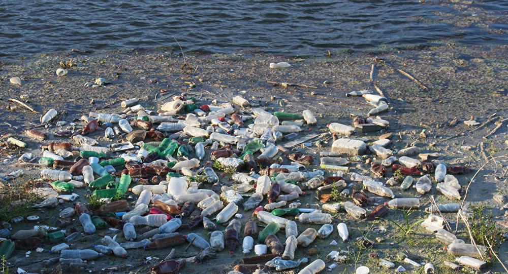 Plastic Trash Floating on the River, Water Pollution