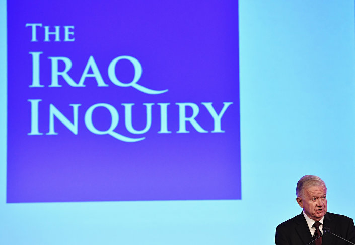 Iraq Inquiry chairman Sir John Chilcot speaks as he comments on the findings of his report, inside the QEII Centre in London on July 6, 2016.